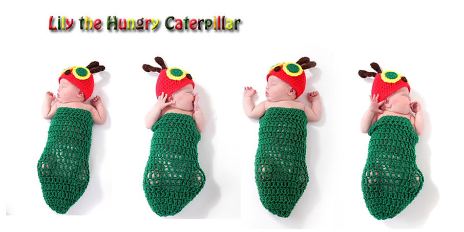 Baby dressed as the hungry caterpillar