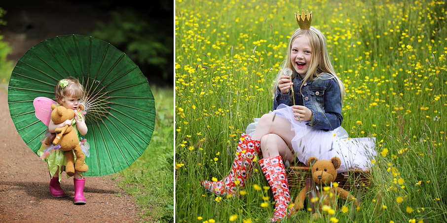 Small girl holding an umbrella and another firl sitting on a wicker hamper